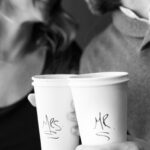Coffee Shop Engagement Photos in Downtown Bay City