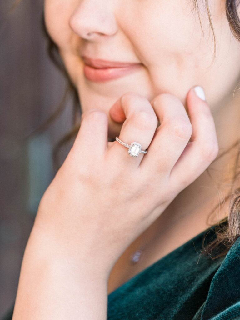 Rectangle emerald cut engagement ring from engagement session