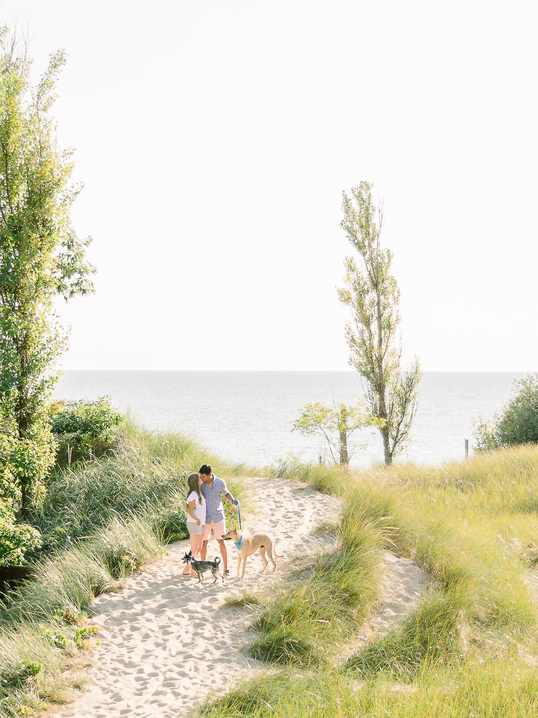 beach engagement session with dogs Kirk Park