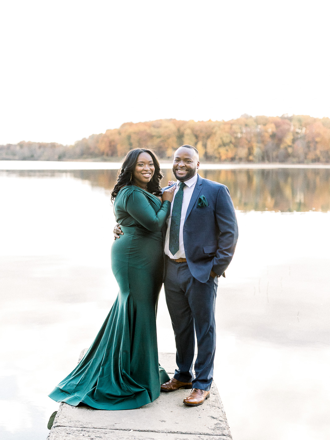 fall engagement session seven lakes state park emerald and navy