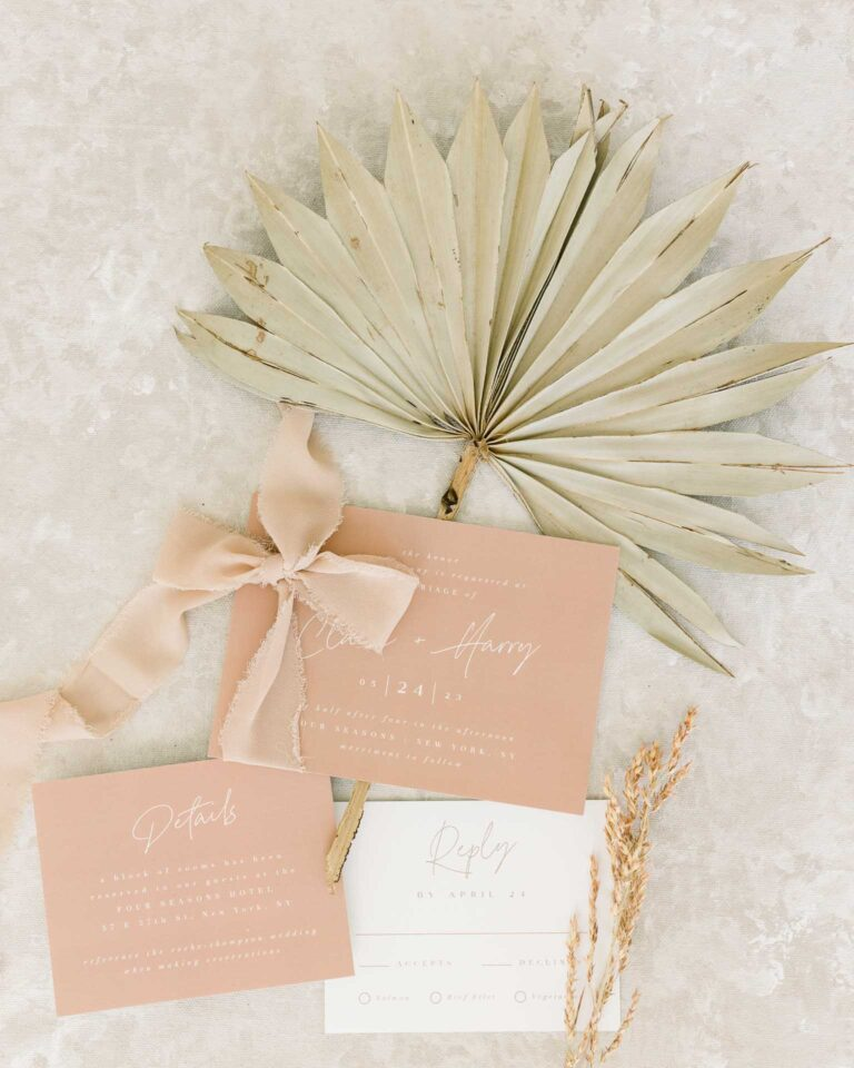 minted wedding invitation suite flatlay by Chinling Photography